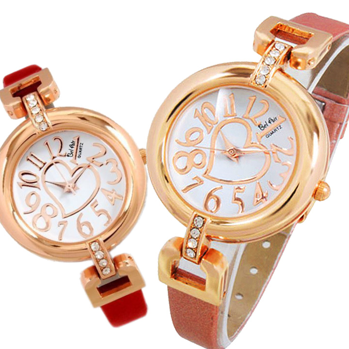 レディース腕時計 レザー ベルト ブレスレット感覚で使える ハート ストーンフェイス 腕時計 JH81