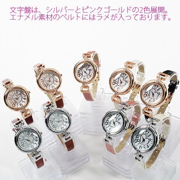 レディース腕時計 レザー ベルト ブレスレット感覚で使える ハート ストーンフェイス 腕時計 JH84