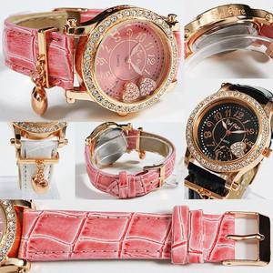 レディース腕時計 オトナな新色 チャーム付き ダブルハート ムーブクリスタル 腕時計 JH54