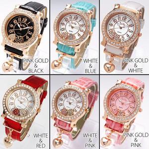 レディース腕時計 オトナな新色 チャーム付き ダブルハート ムーブクリスタル 腕時計 JH53
