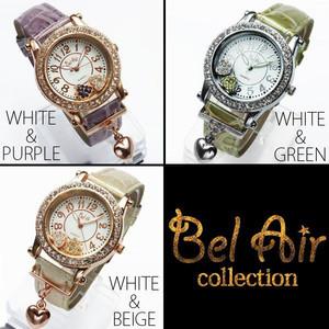 レディース腕時計 オトナな新色 チャーム付き ダブルハート ムーブクリスタル 腕時計 JH52