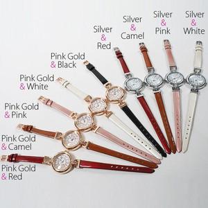 レディース腕時計 レザー ベルト ブレスレット感覚で使える ハート ストーンフェイス 腕時計 JH82