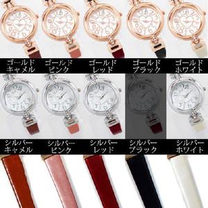 レディース腕時計 レザー ベルト ブレスレット感覚で使える ハート ストーンフェイス 腕時計 JH83