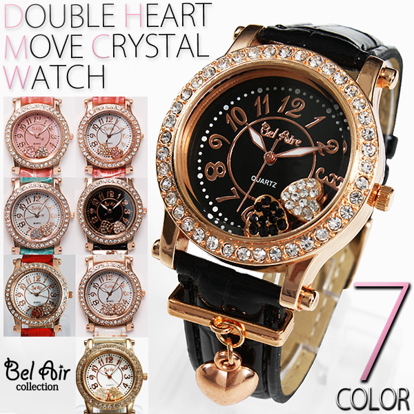 レディース腕時計 オトナな新色 チャーム付き ダブルハート ムーブクリスタル 腕時計 JH51