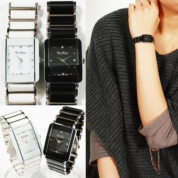 【ブレスレット感覚】★レディース・モノトーン&ストーンスタイル腕時計 OSD16-S3