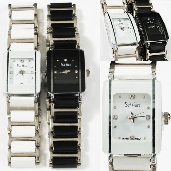 【ブレスレット感覚】★レディース・モノトーン&ストーンスタイル腕時計 OSD16-S4