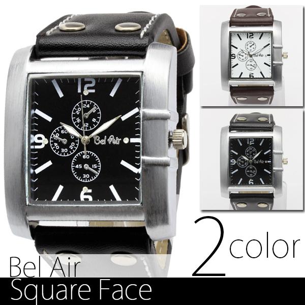 【ロングセラー】★スクエアビッグフェイス・ブレスレット腕時計 JH19