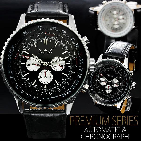 【全針稼動の本格仕様!】★ビッグフェイス・自動巻きクロノグラフ腕時計 BCG40