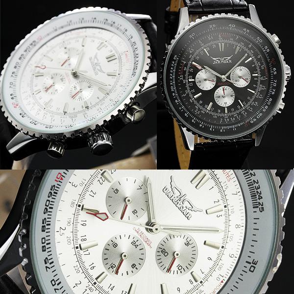 【全針稼動の本格仕様!】★ビッグフェイス・自動巻きクロノグラフ腕時計 BCG401