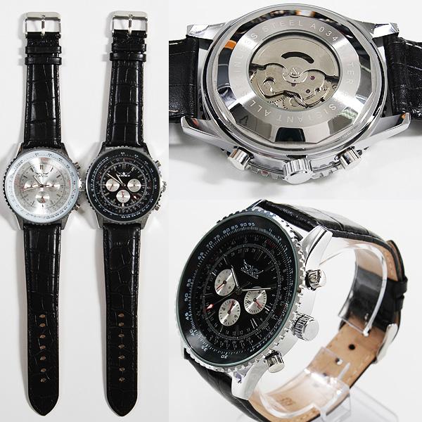 【全針稼動の本格仕様!】★ビッグフェイス・自動巻きクロノグラフ腕時計 BCG402