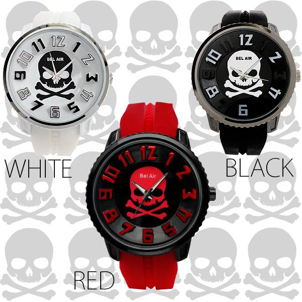 【入荷の度に即完売!】★スカル3Dビッグフェイス&ラバーベルト腕時計 JH142