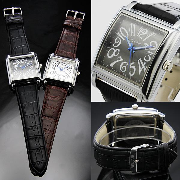 【存在感MAX!】★スパイラルナンバー・スクエアビッグフェイス腕時計 JH181