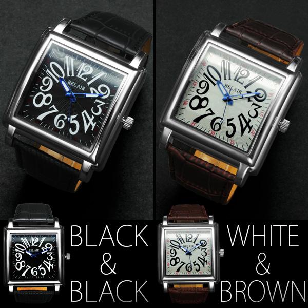 【存在感MAX!】★スパイラルナンバー・スクエアビッグフェイス腕時計 JH182