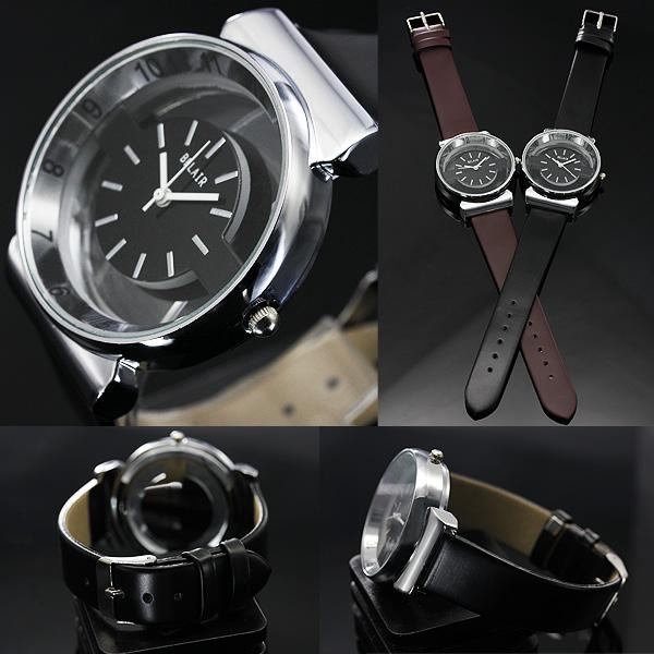 【両面クリアガラス仕様】★スケルトンクォーツ腕時計 JH21