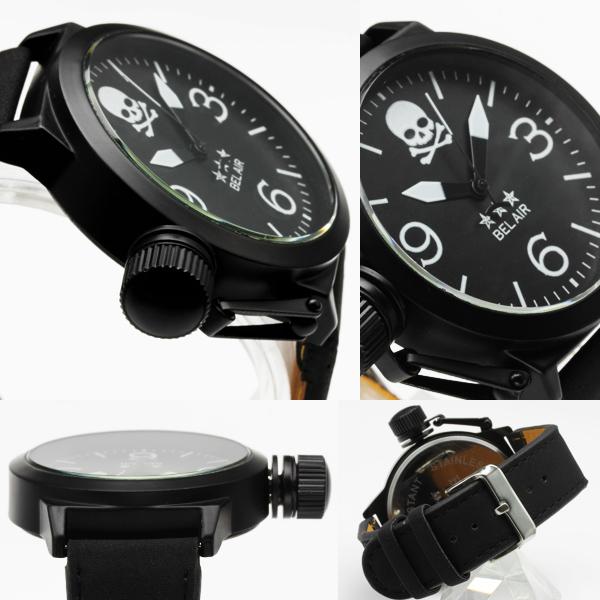 【復刻】★逆リューズ仕様スカルフェイス・ミリタリー腕時計 JH291