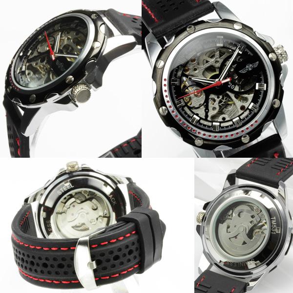 【ギミックの効いた仕上がり】★フルスケルトン自動巻き腕時計 BCG96-BK1
