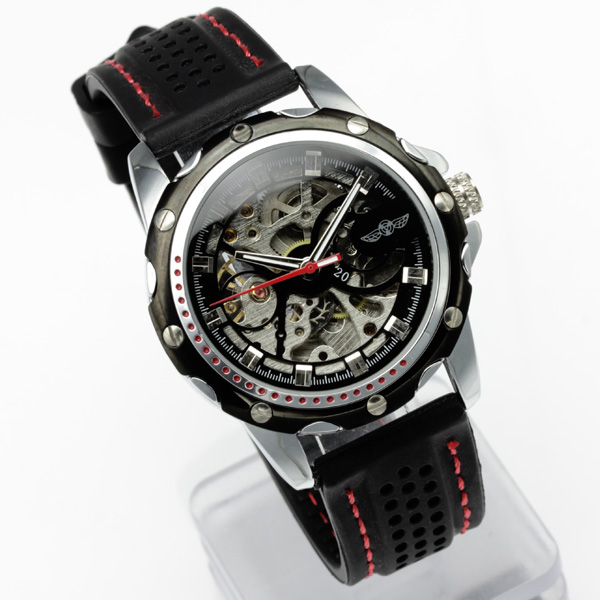 【ギミックの効いた仕上がり】★フルスケルトン自動巻き腕時計 BCG96-BK2