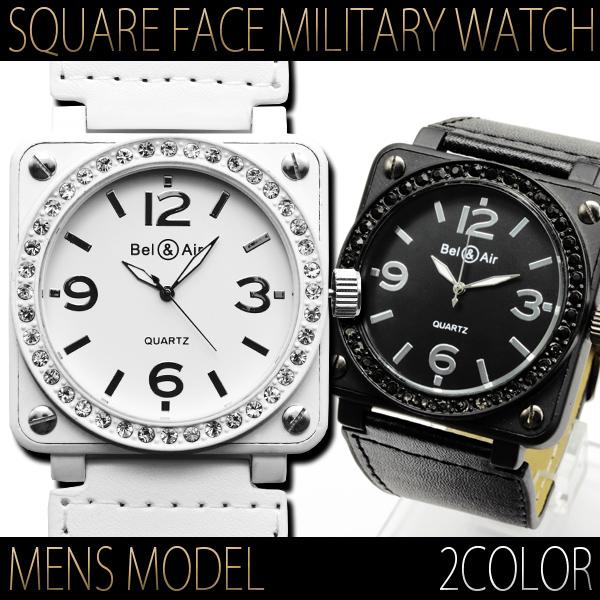【メンズ仕様】★ストーン仕上げスクエアビッグフェイス・ミリタリー腕時計 JH40