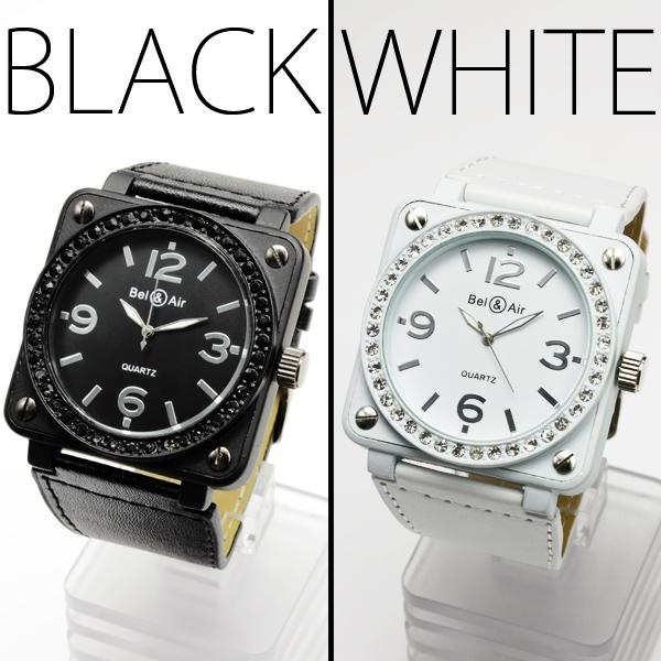 【メンズ仕様】★ストーン仕上げスクエアビッグフェイス・ミリタリー腕時計 JH402