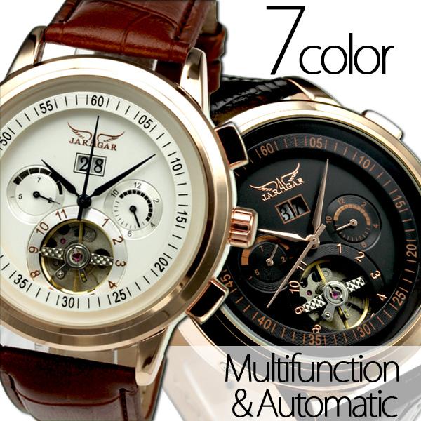 【カレンダー機能付き】★自動巻きバックスケルトン腕時計 BCG92