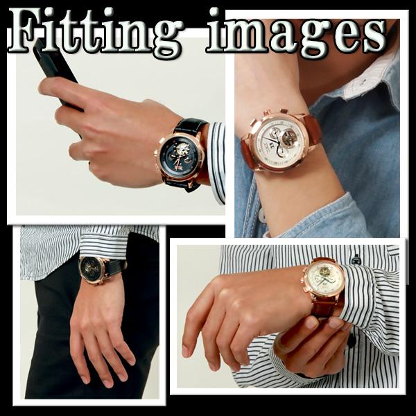 【カレンダー機能付き】★自動巻きバックスケルトン腕時計 BCG924