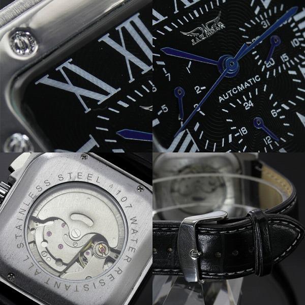 【カレンダー機能付き】★スクエアフェイス自動巻き腕時計 BCG28-BK1