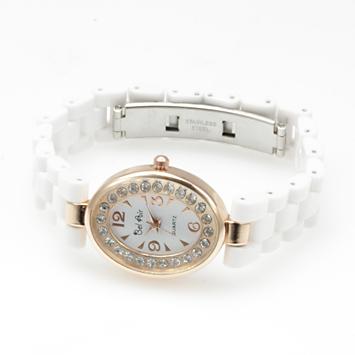 【レディース仕様】★ピンクゴールド オーバルフェイス レディース腕時計 OSD41-WH1