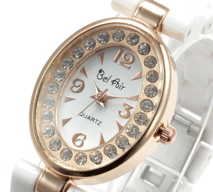 【レディース仕様】★ピンクゴールド オーバルフェイス レディース腕時計 OSD41-WH3