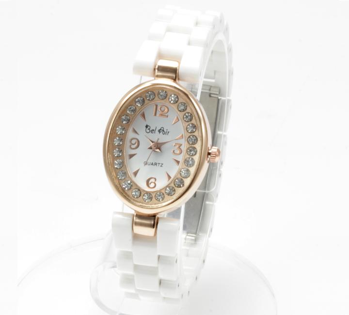 【レディース仕様】★ピンクゴールド オーバルフェイス レディース腕時計 OSD41-WH4
