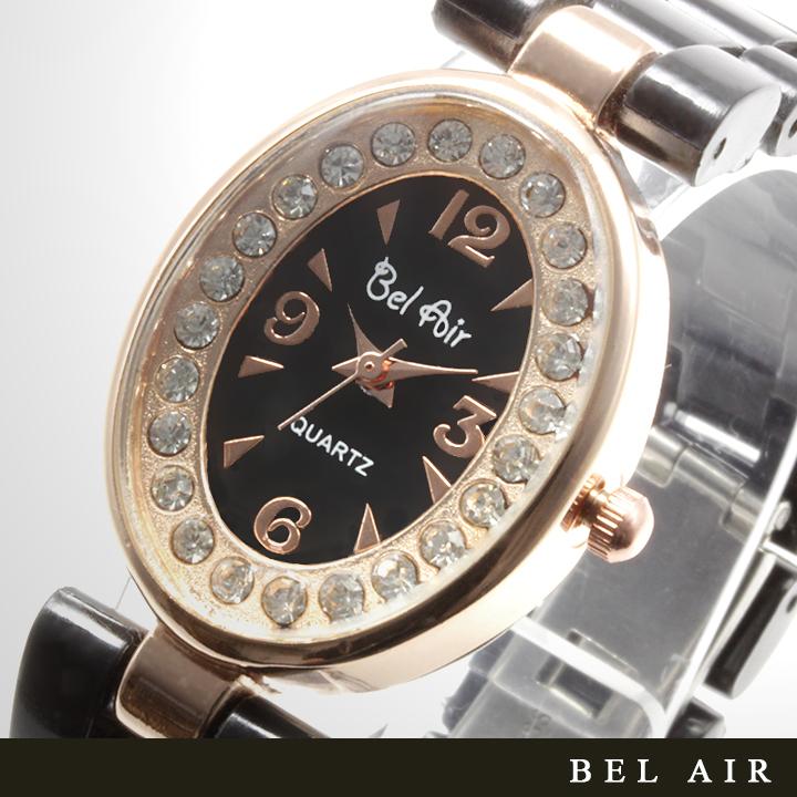 【レディース仕様】★ピンクゴールド オーバルフェイス レディース腕時計 OSD41-BK