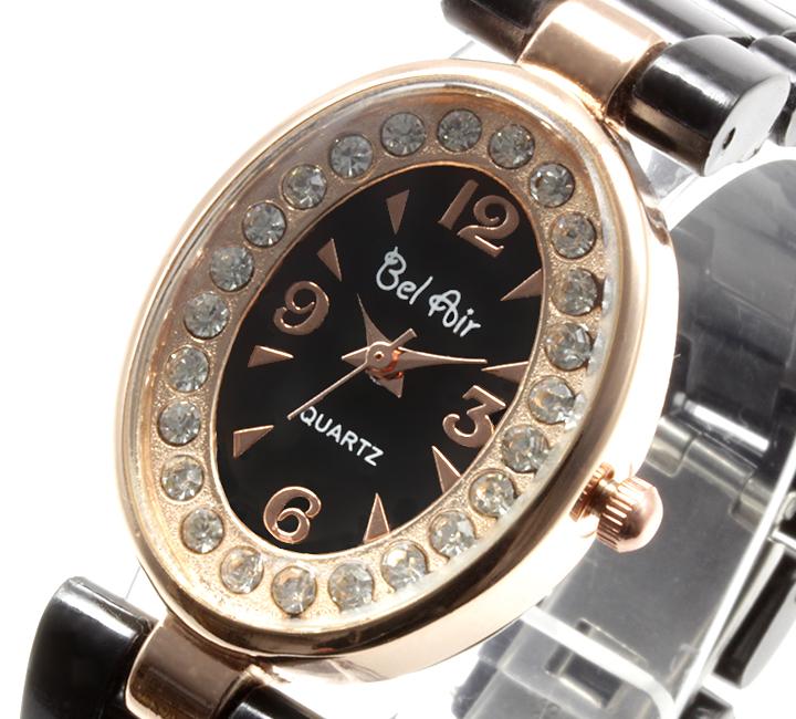 【レディース仕様】★ピンクゴールド オーバルフェイス レディース腕時計 OSD41-BK3