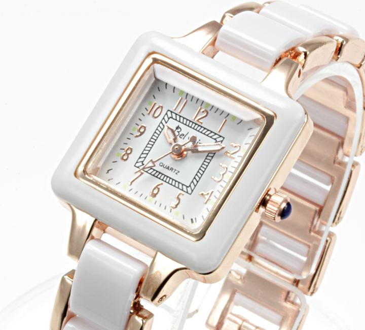 【レディース仕様】★スクエアフェイス レディース腕時計 DNS1-WH3