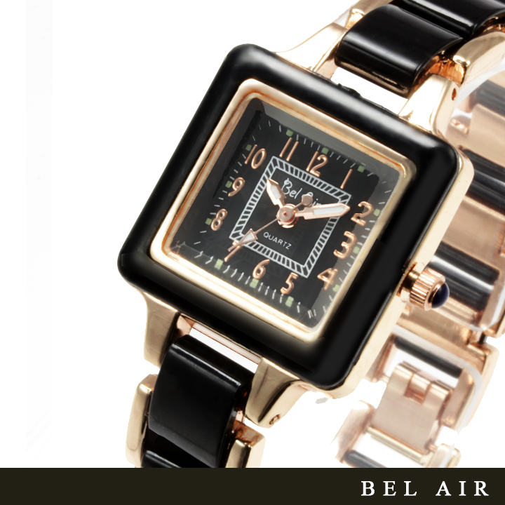 【レディース仕様】★スクエアフェイス レディース腕時計 TS1-BK