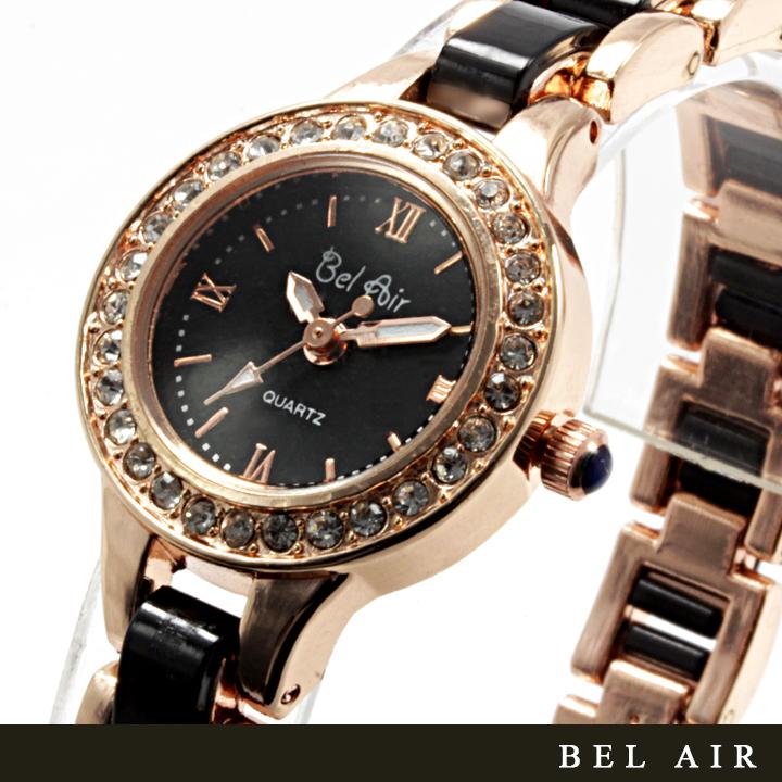 【レディース仕様】★ゴールドブラック ラインストーン レディース腕時計 DNS2-BK