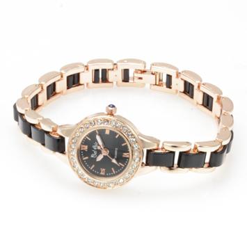 【レディース仕様】★ゴールドブラック ラインストーン レディース腕時計 DNS2-BK1