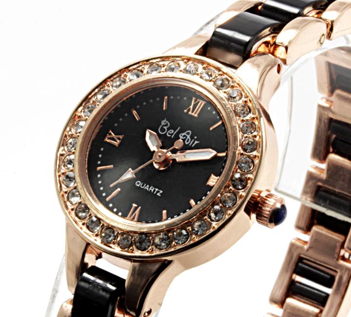 【レディース仕様】★ゴールドブラック ラインストーン レディース腕時計 DNS2-BK3