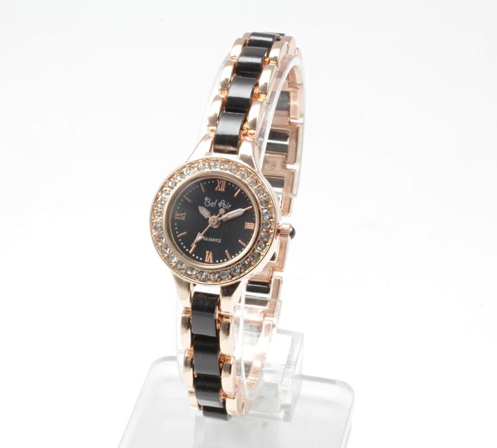 【レディース仕様】★ゴールドブラック ラインストーン レディース腕時計 DNS2-BK4