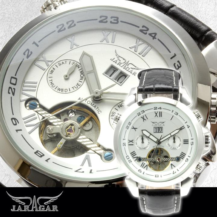 【全針稼動の本格仕様】★インナーベゼルビッグフェイス自動巻きクロノグラフ腕時計 BCG110-WH