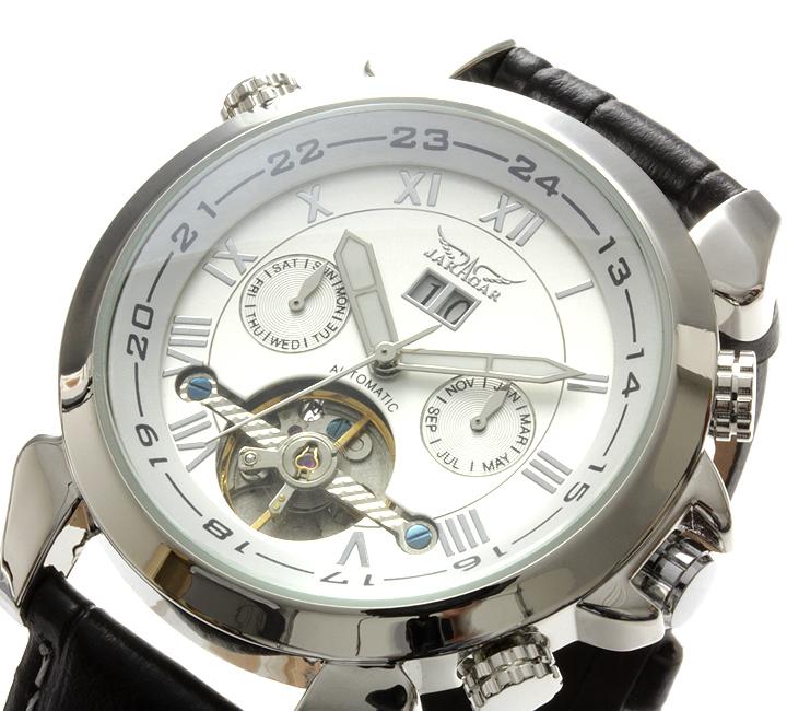 【全針稼動の本格仕様】★インナーベゼルビッグフェイス自動巻きクロノグラフ腕時計 BCG110-WH1