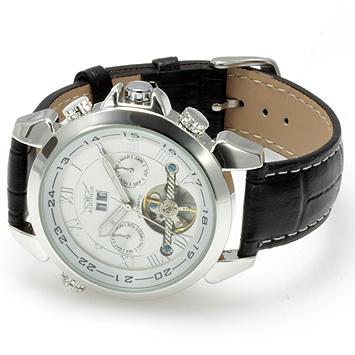 【全針稼動の本格仕様】★インナーベゼルビッグフェイス自動巻きクロノグラフ腕時計 BCG110-WH2
