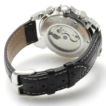 【全針稼動の本格仕様】★インナーベゼルビッグフェイス自動巻きクロノグラフ腕時計 BCG110-WH3