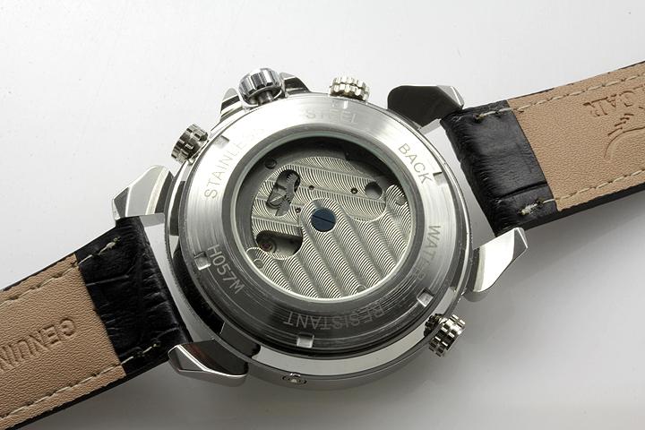 【全針稼動の本格仕様】★インナーベゼルビッグフェイス自動巻きクロノグラフ腕時計 BCG110-WH4