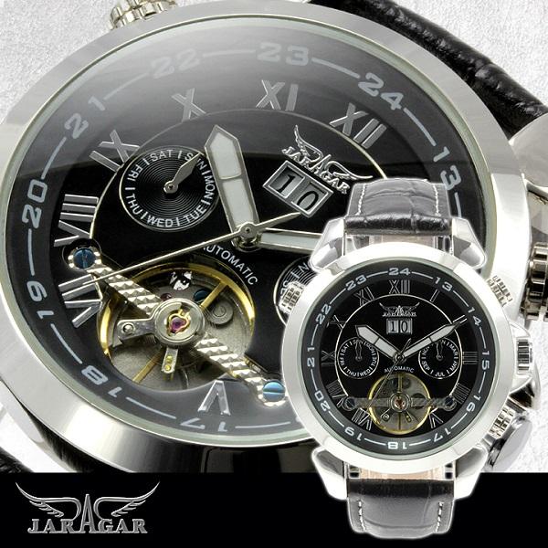 【全針稼動の本格仕様】★インナーベゼルビッグフェイス自動巻きクロノグラフ腕時計 BCG110-BK
