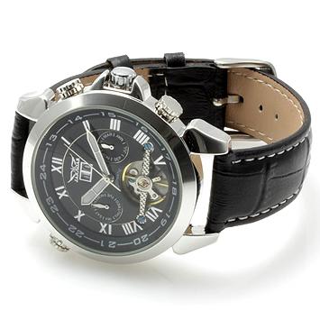 【全針稼動の本格仕様】★インナーベゼルビッグフェイス自動巻きクロノグラフ腕時計 BCG110-BK1