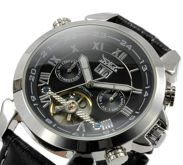 【全針稼動の本格仕様】★インナーベゼルビッグフェイス自動巻きクロノグラフ腕時計 BCG110-BK3