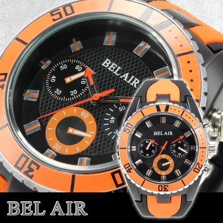 【Bel Air collection】 バイカラー ラバーベルト メンズ 腕時計 JY1 オレンジ【ビッグフェイス】1