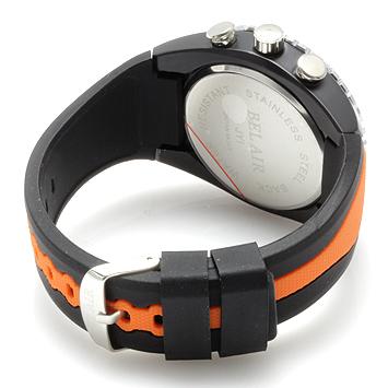 【Bel Air collection】 バイカラー ラバーベルト メンズ 腕時計 JY1 オレンジ【ビッグフェイス】2