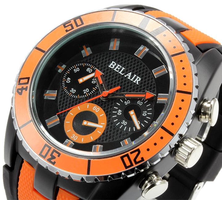 【Bel Air collection】 バイカラー ラバーベルト メンズ 腕時計 JY1 オレンジ【ビッグフェイス】3