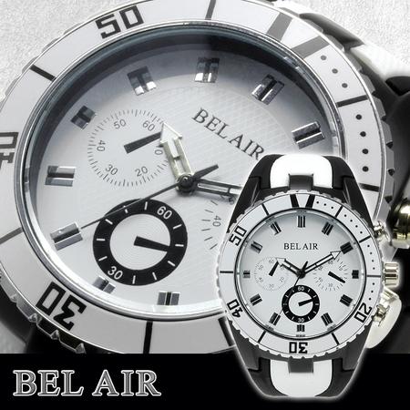 【Bel Air collection】 バイカラー ラバーベルト メンズ 腕時計 JY1 ホワイト【ビッグフェイス】