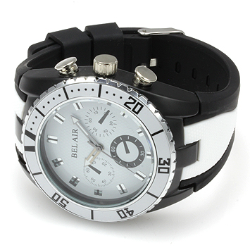 【Bel Air collection】 バイカラー ラバーベルト メンズ 腕時計 JY1 ホワイト【ビッグフェイス】1